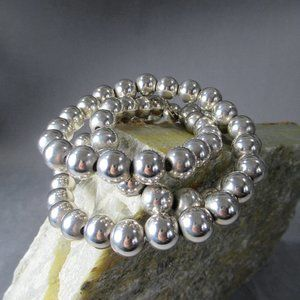 """Sterling Silver Beaded Necklace 24"""" Artisan Silver"""